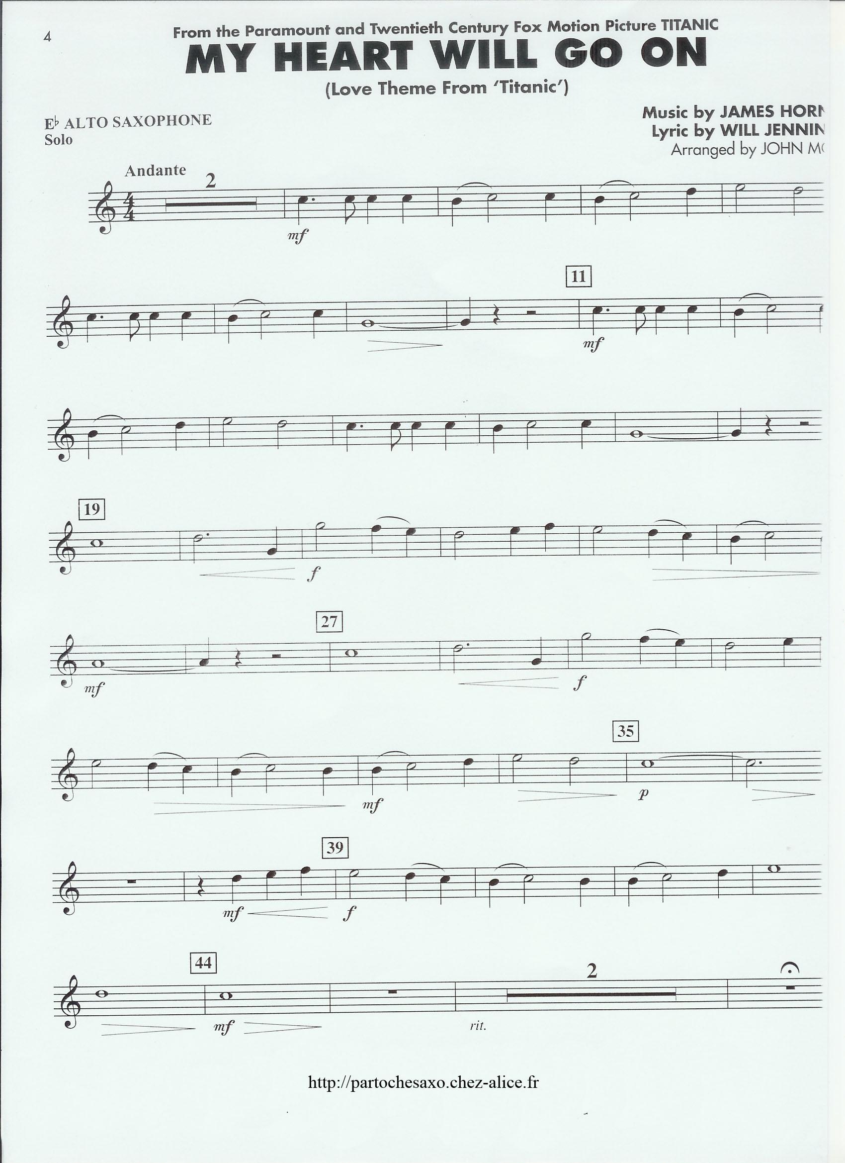 partition titanic flute a bec gratuite