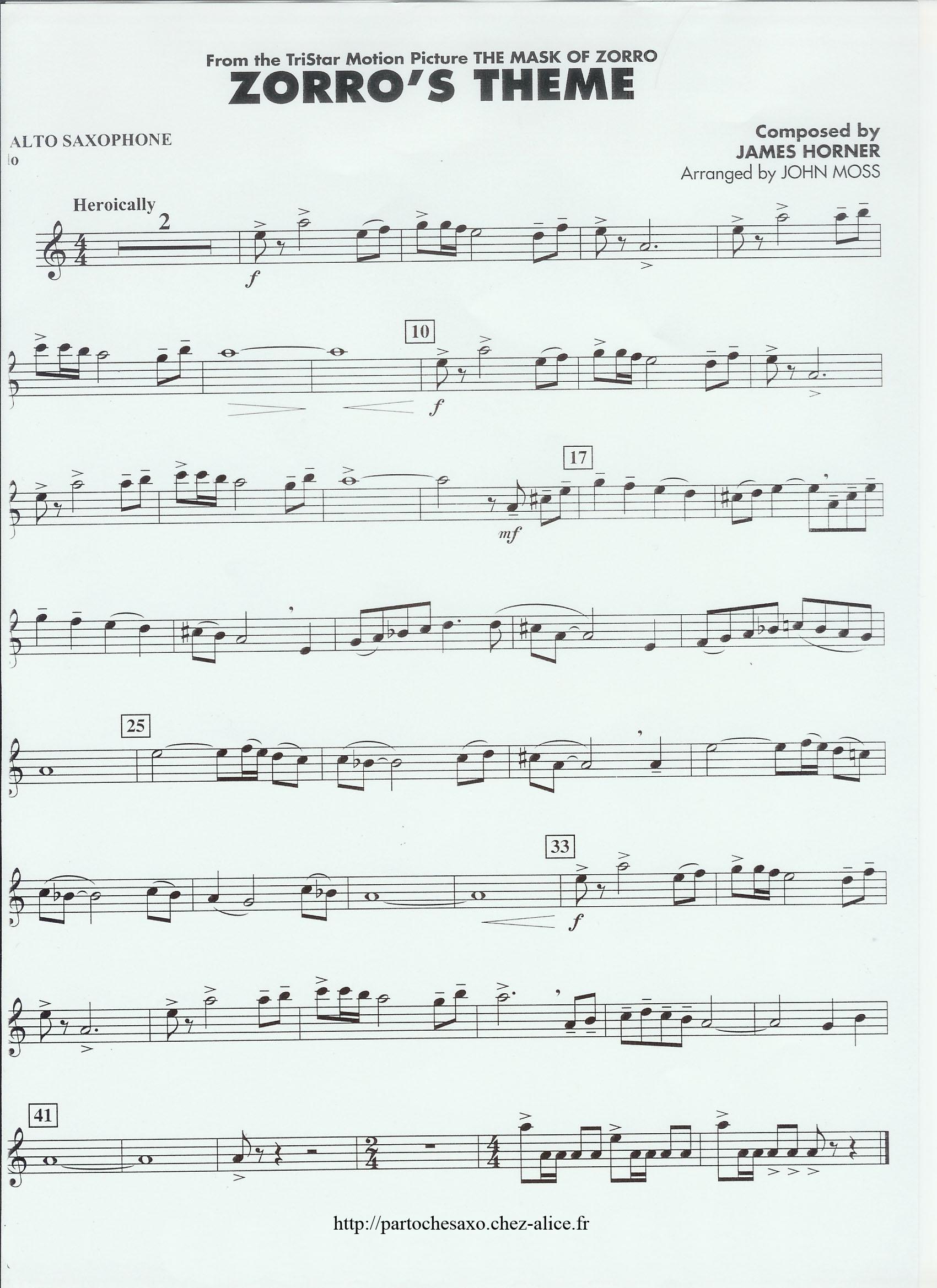 partition musique zorro